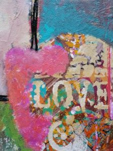 detail of Be Love- Susan Korsnick's acrylic piece on canvas